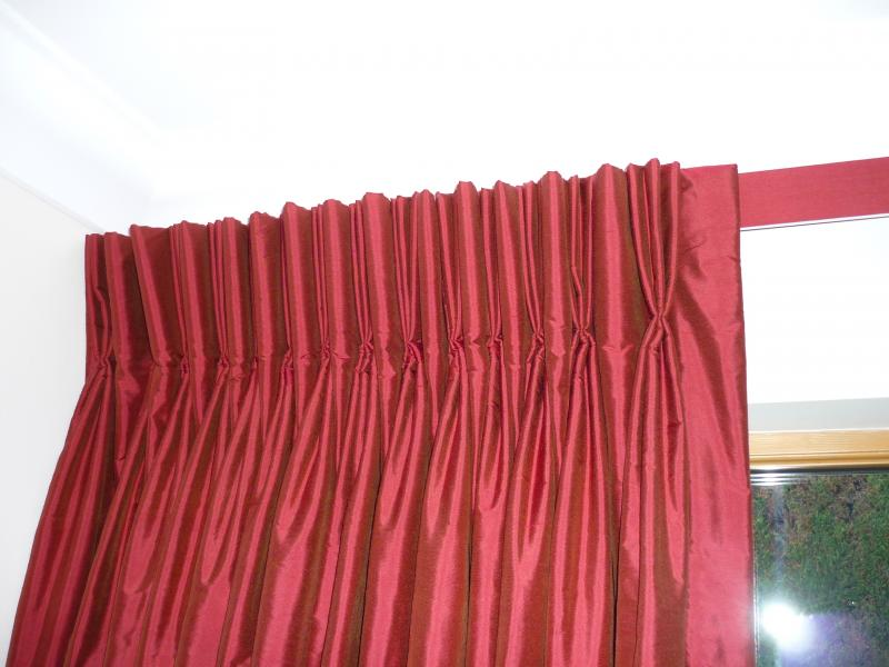 Triple Pinch Pleat Curtains On A Covered Lath