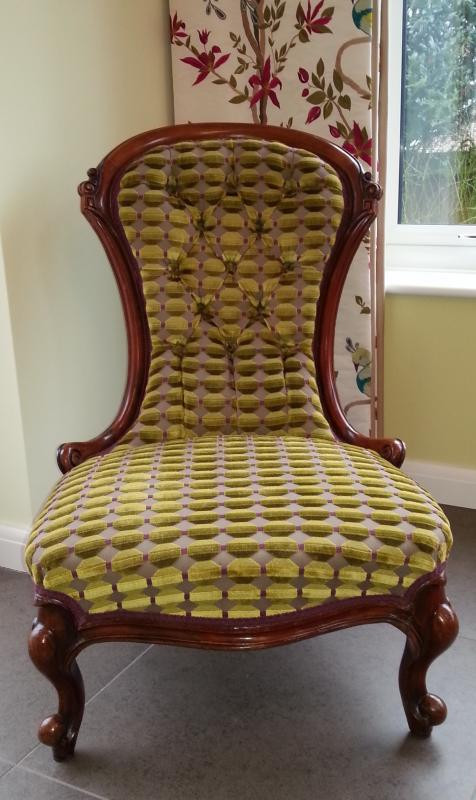 Re-upholstered Buttoned Chair